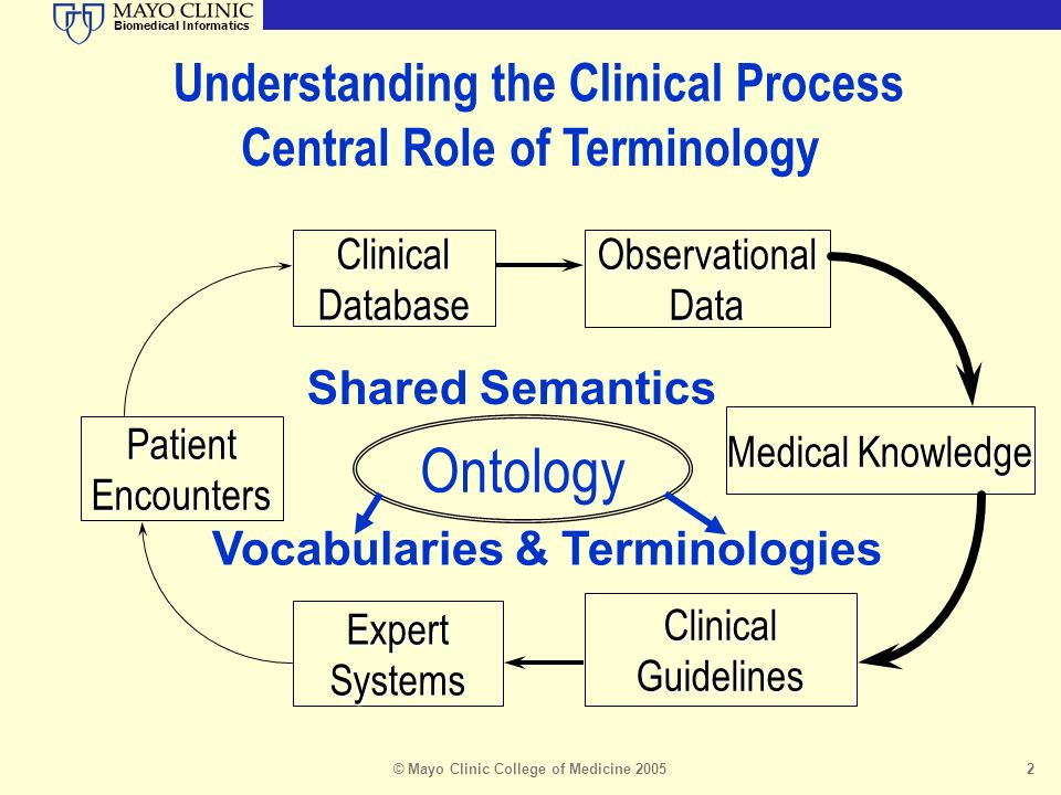 Biomedical Informatics © Mayo Clinic College of Medicine 20052 PatientEncounters ClinicalDatabaseObservationalData ClinicalGuidelines Medical Knowledge ExpertSystems Ontology Understanding the Clinical Process Central Role of Terminology Shared Semantics Vocabularies & Terminologies