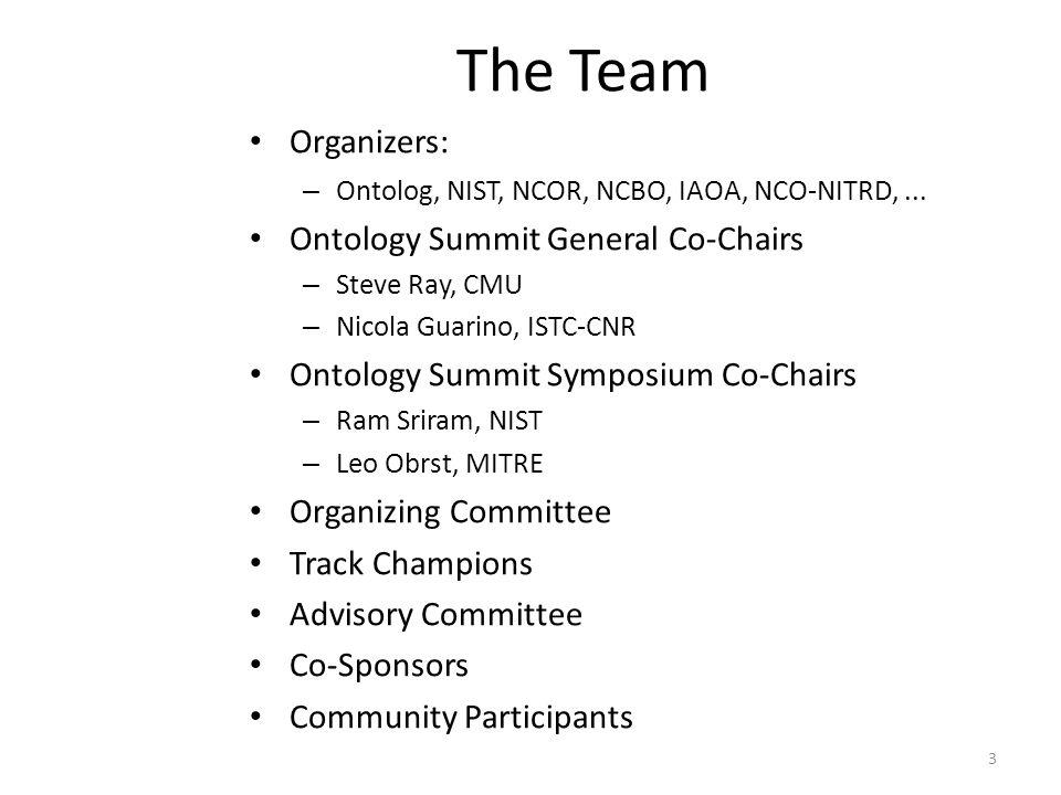 The Team Organizers: – Ontolog, NIST, NCOR, NCBO, IAOA, NCO-NITRD,... Ontology Summit General Co-Chairs – Steve Ray, CMU – Nicola Guarino, ISTC-CNR On