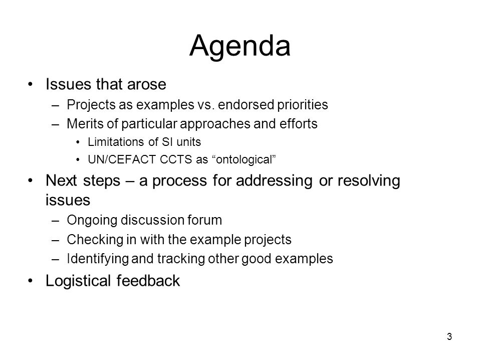 Agenda Issues that arose –Projects as examples vs.