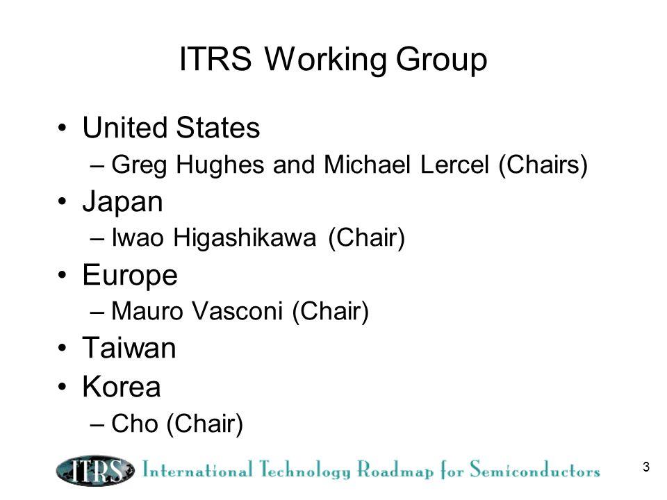 3 ITRS Working Group United States –Greg Hughes and Michael Lercel (Chairs) Japan –Iwao Higashikawa (Chair) Europe –Mauro Vasconi (Chair) Taiwan Korea