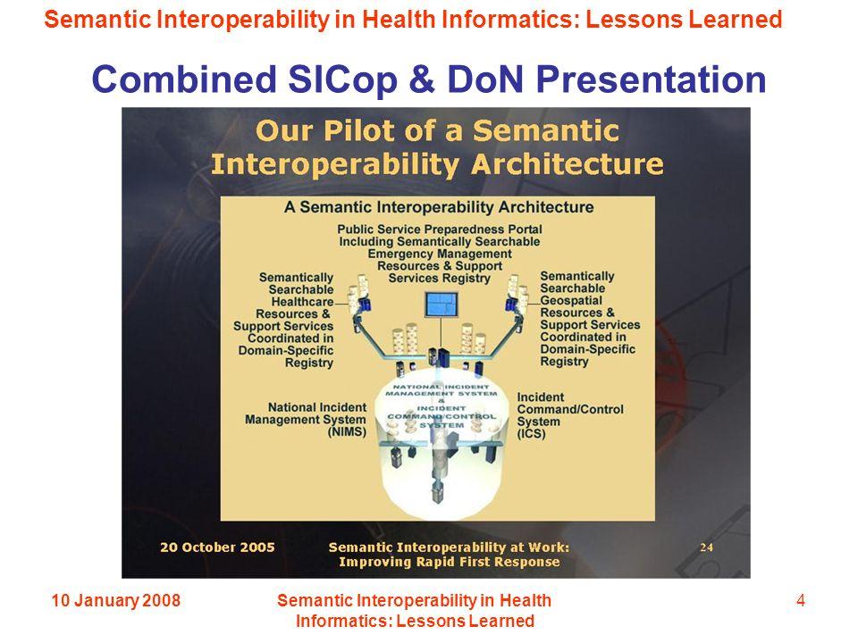 Semantic Interoperability in Health Informatics: Lessons Learned 10 January 2008Semantic Interoperability in Health Informatics: Lessons Learned 4 Combined SICop & DoN Presentation