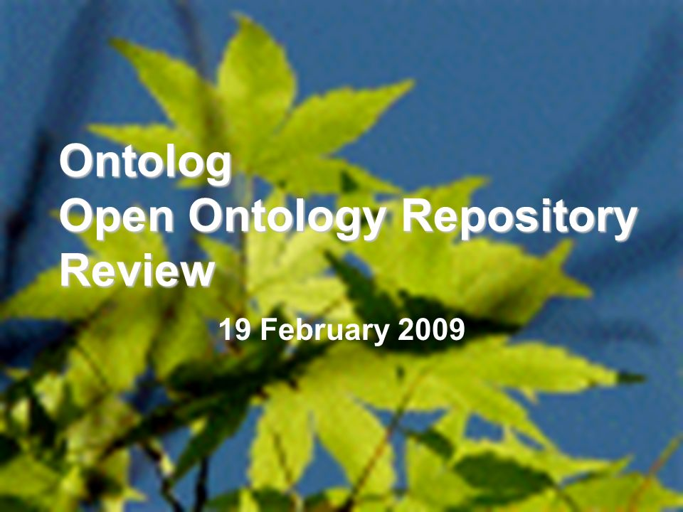 1 Ontolog Open Ontology Repository Review 19 February 2009