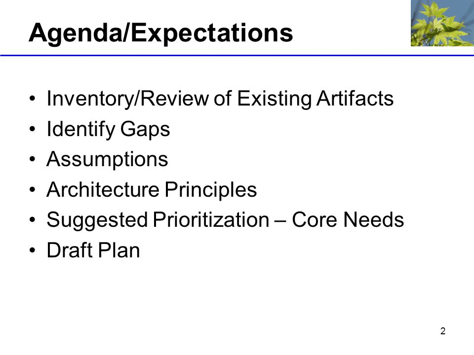 2 Agenda/Expectations Inventory/Review of Existing Artifacts Identify Gaps Assumptions Architecture Principles Suggested Prioritization – Core Needs Draft Plan