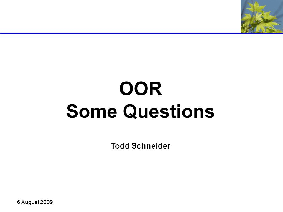 6 August 2009 OOR Some Questions Todd Schneider