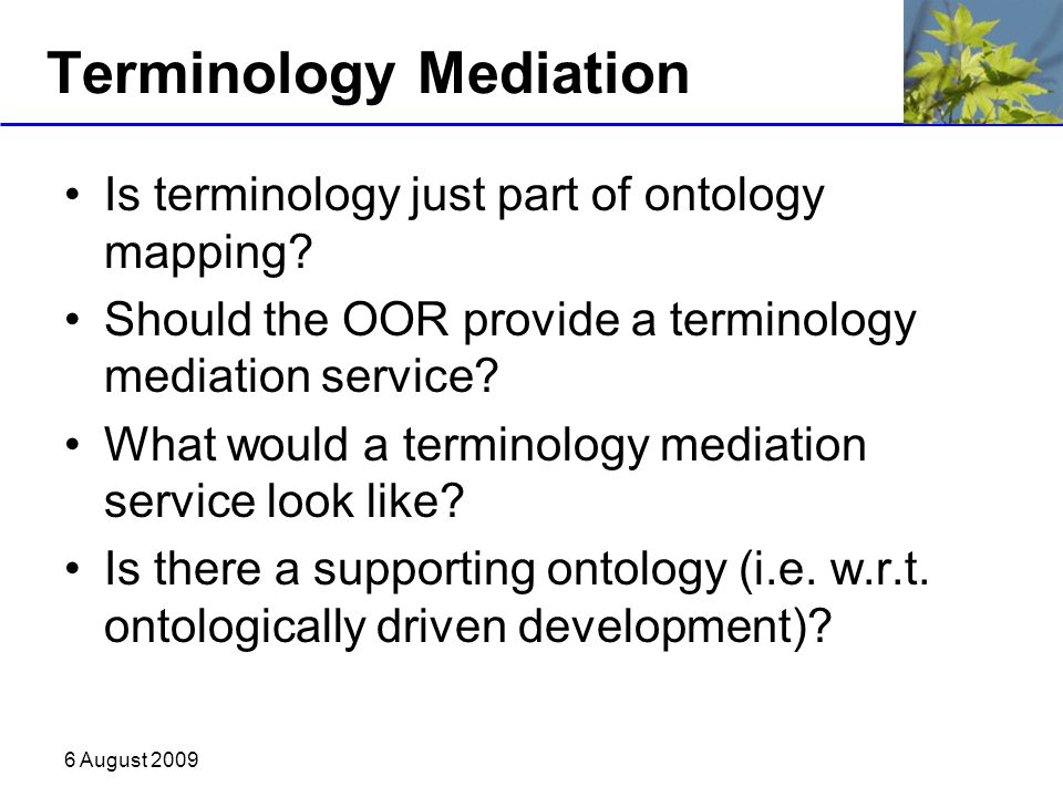 6 August 2009 Terminology Mediation Is terminology just part of ontology mapping? Should the OOR provide a terminology mediation service? What would a