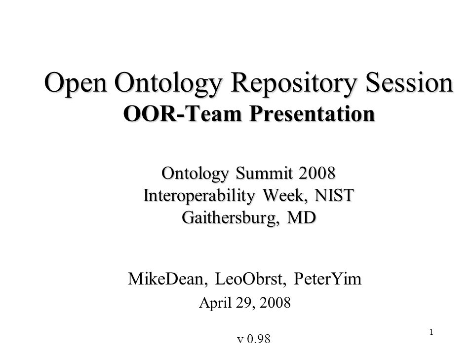 42 ebXML RegRep as an OOR Server: A Proposal - Farrukh Najmi Build upon RegRep 4.0 impl from Wellfleet Software Implement OWL-Lite Profile (modulo RegRep 4) RegRep does not provide Ontology specific UI, use Protege Integrate RegRep 4.0 with Protege such that –RegRep serves as backend for Multi-user Protege client –Protege reasoning engine serves as Reasoning plugin for RegRep Initially deploy a single Root OOR instance with pilot users playing various roles in the collaborative ontology management use cases –Use OpenID as distributed identity management solution Later facilitate deployment of Community-specific OORs (e.g.