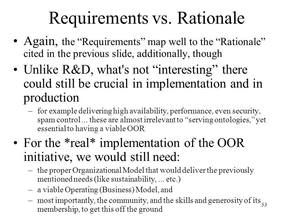 33 Requirements vs.