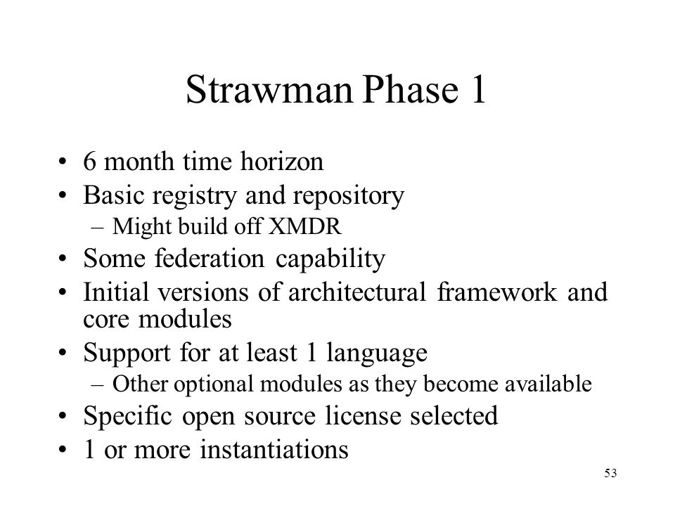 53 Strawman Phase 1 6 month time horizon Basic registry and repository –Might build off XMDR Some federation capability Initial versions of architectural framework and core modules Support for at least 1 language –Other optional modules as they become available Specific open source license selected 1 or more instantiations