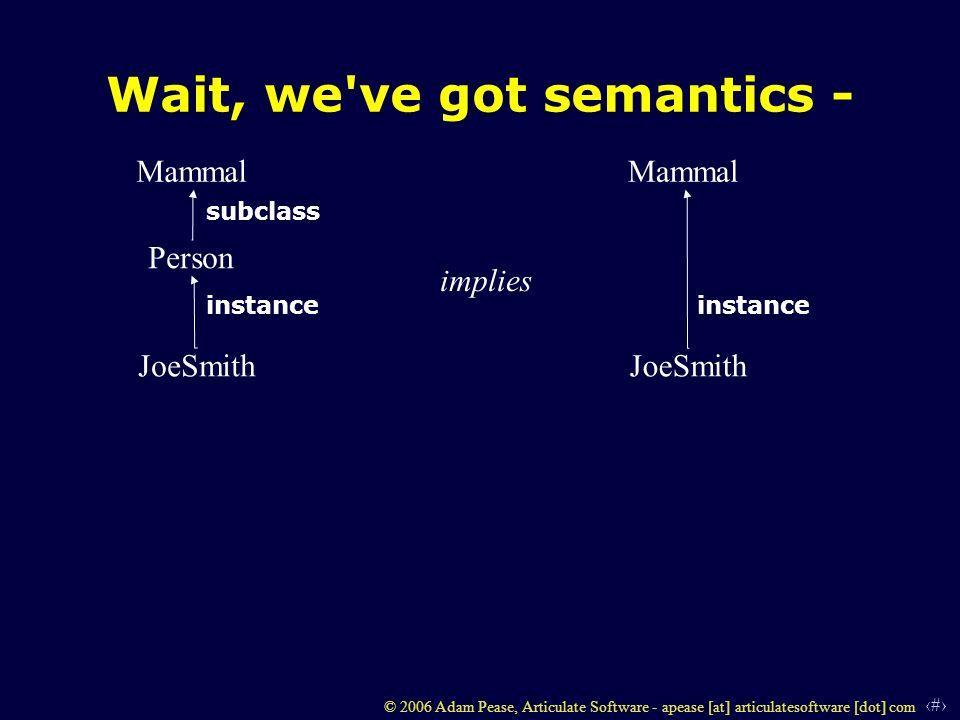 4 © 2006 Adam Pease, Articulate Software - apease [at] articulatesoftware [dot] com Wait, we've got semantics - Person Mammal JoeSmith instance subcla