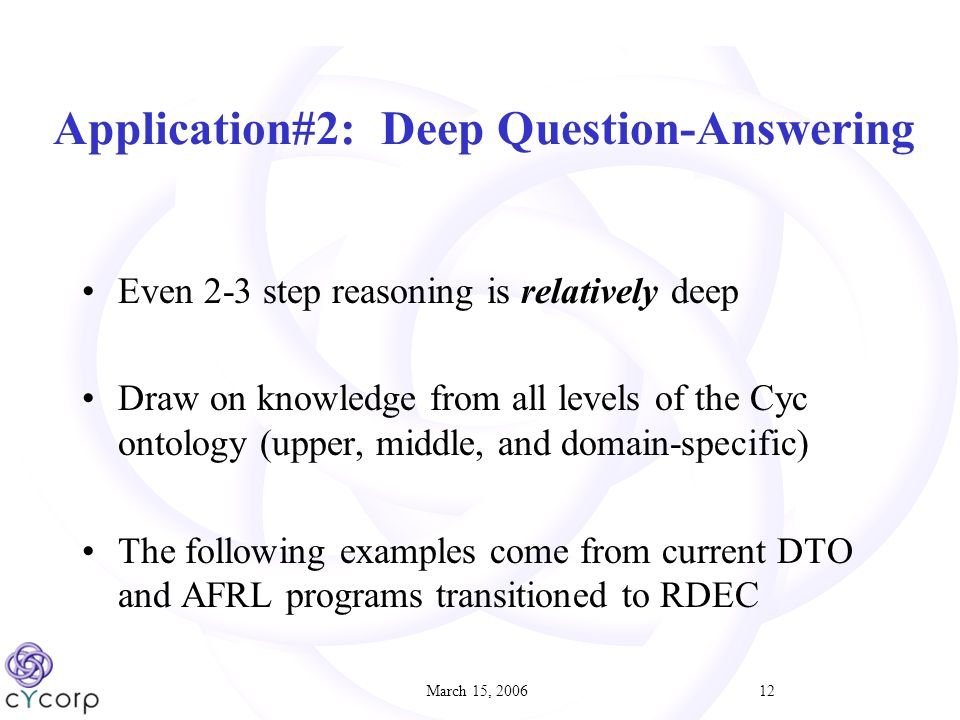 March 15, Application#2: Deep Question-Answering Even 2-3 step reasoning is relatively deep Draw on knowledge from all levels of the Cyc ontology (upper, middle, and domain-specific) The following examples come from current DTO and AFRL programs transitioned to RDEC