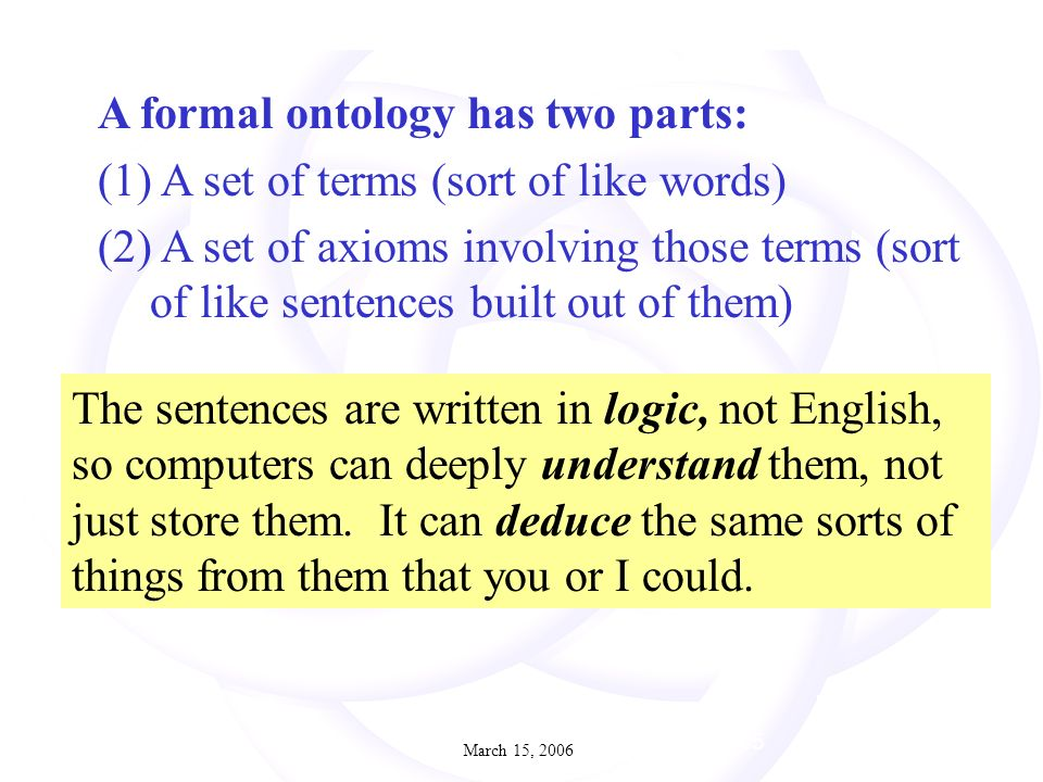 March 15, July 2005 The sentences are written in logic, not English, so computers can deeply understand them, not just store them.