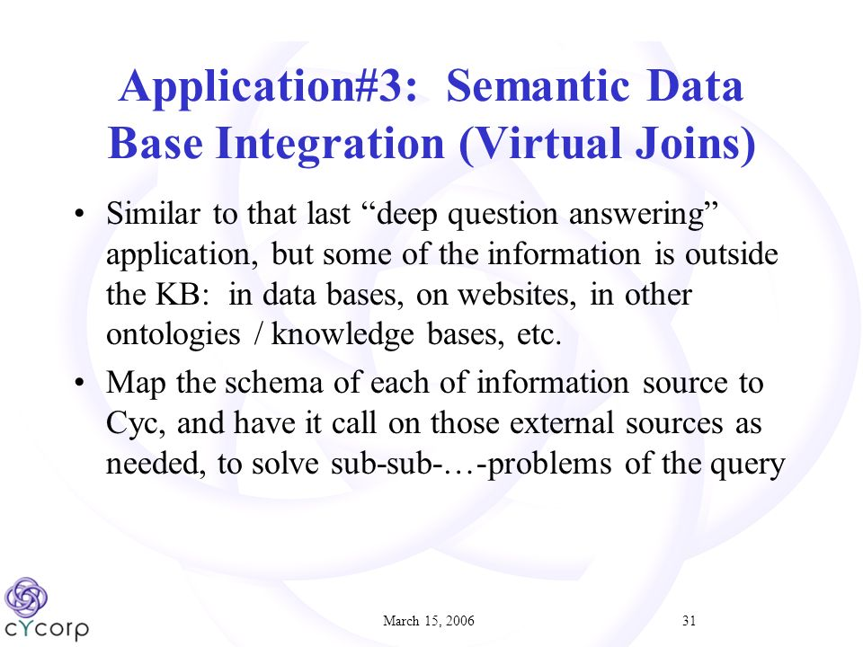 March 15, Application#3: Semantic Data Base Integration (Virtual Joins) Similar to that last deep question answering application, but some of the information is outside the KB: in data bases, on websites, in other ontologies / knowledge bases, etc.