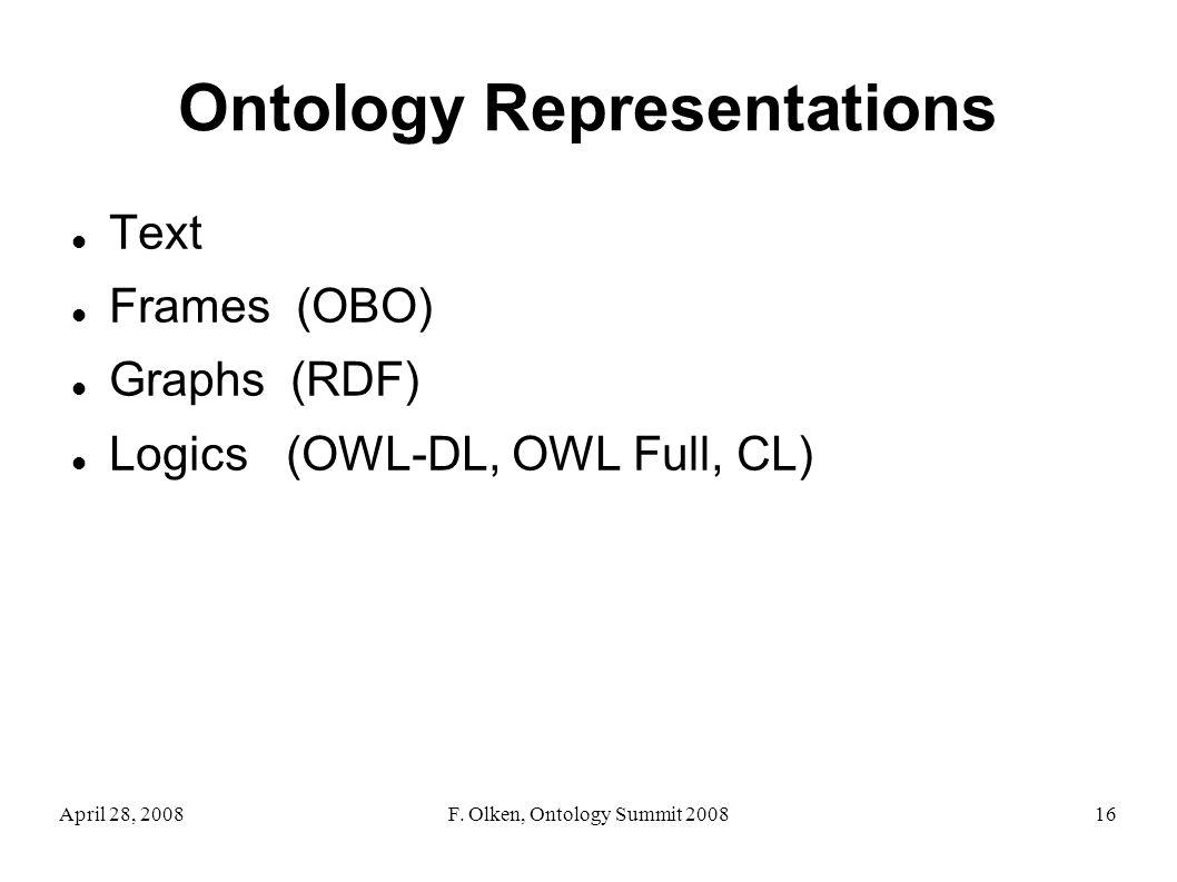 April 28, 2008F. Olken, Ontology Summit 200816 Ontology Representations Text Frames (OBO) Graphs (RDF) Logics (OWL-DL, OWL Full, CL)