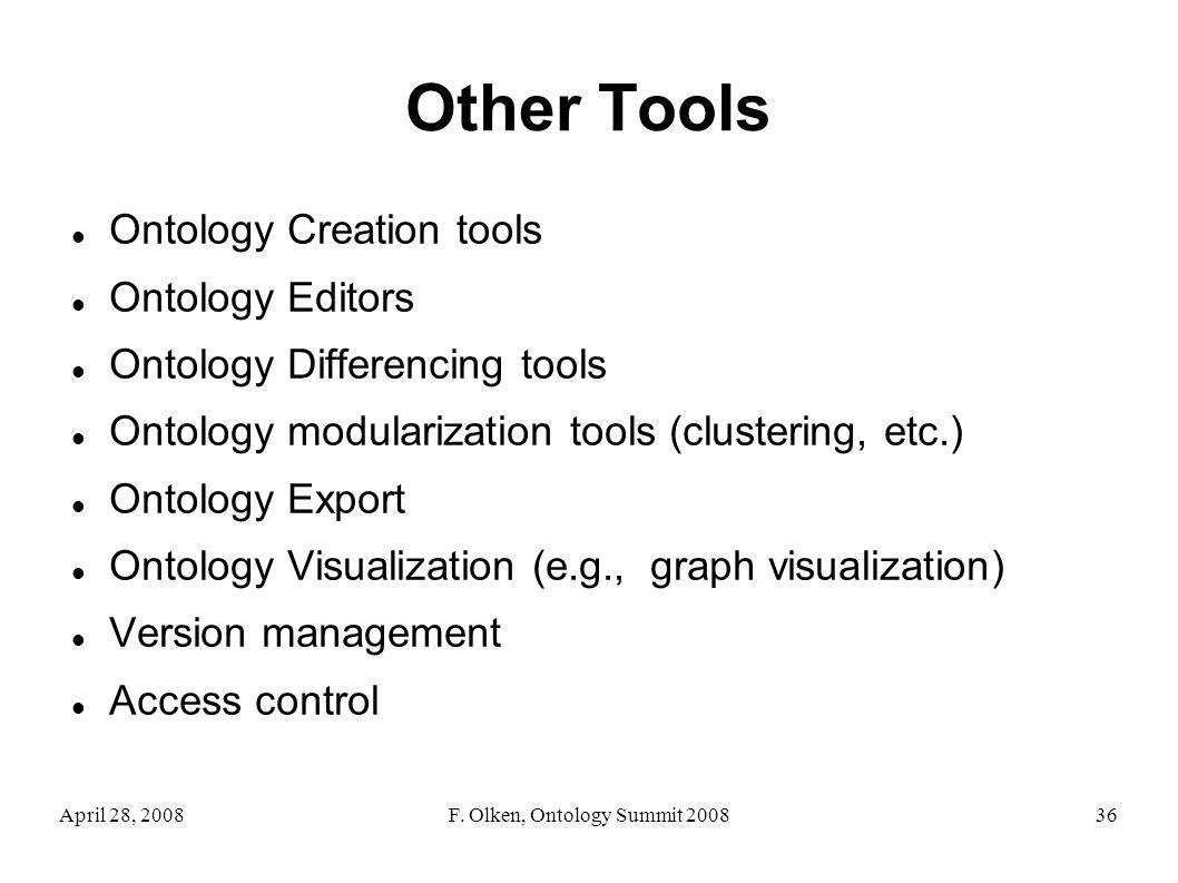April 28, 2008F. Olken, Ontology Summit 200836 Other Tools Ontology Creation tools Ontology Editors Ontology Differencing tools Ontology modularizatio
