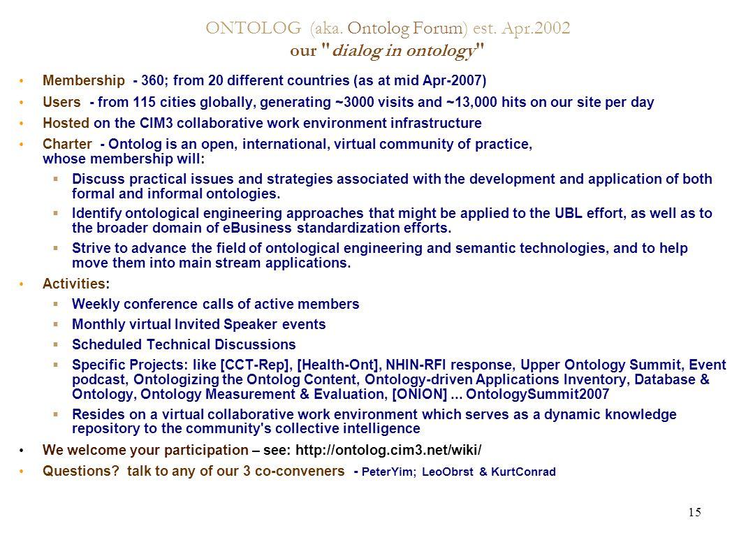 15 ONTOLOG (aka. Ontolog Forum) est.