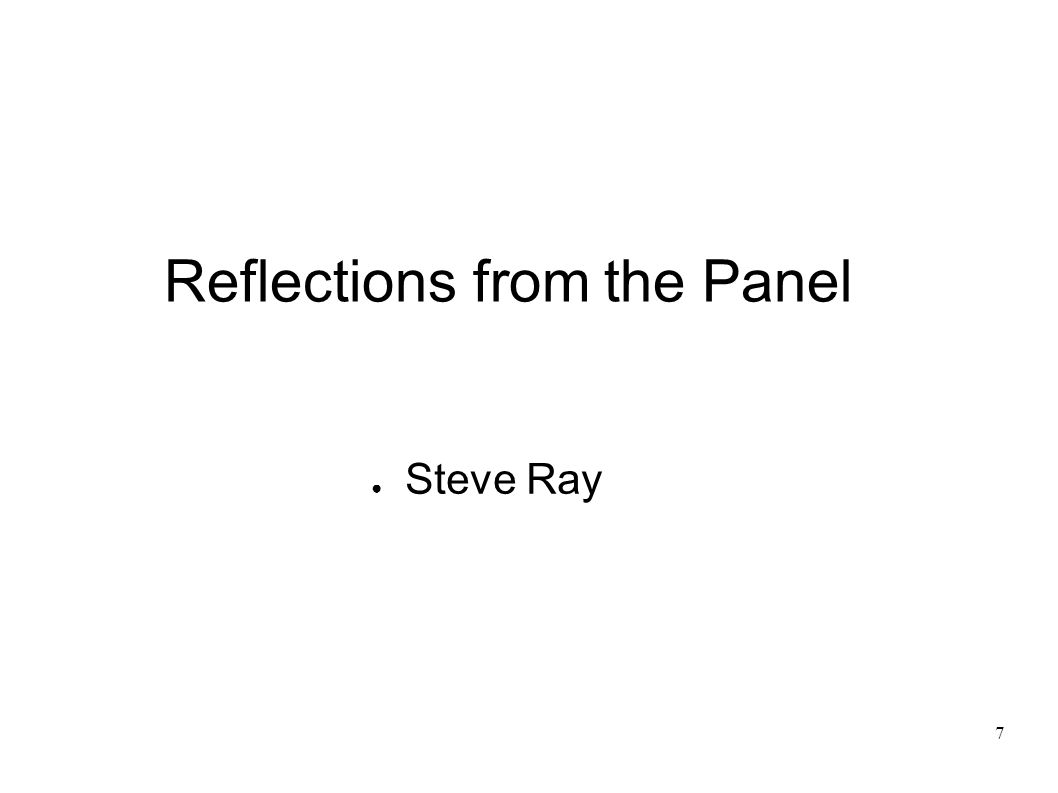 7 Reflections from the Panel Steve Ray