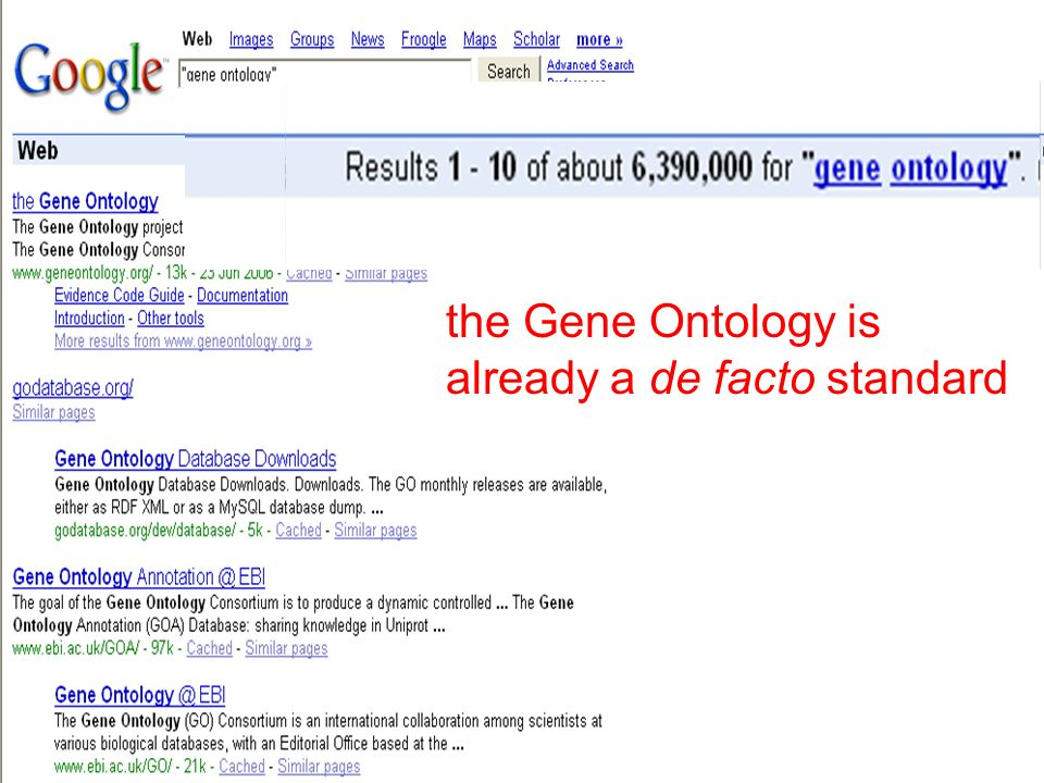 http://ontologist.com 33 the Gene Ontology is already a de facto standard
