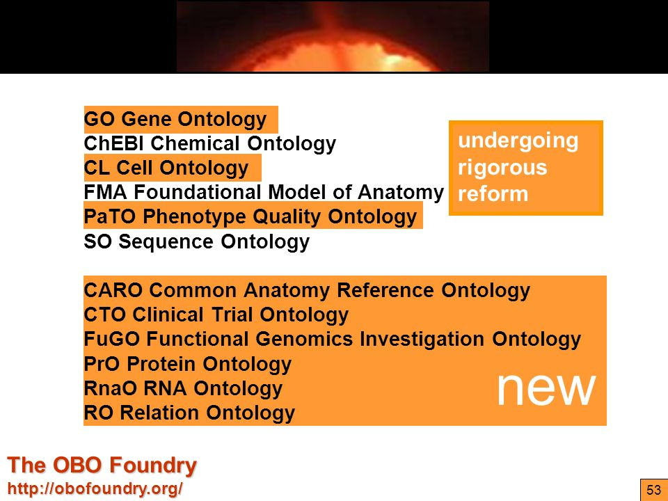 http://ontologist.com 53 undergoing rigorous reform new GO Gene Ontology ChEBI Chemical Ontology CL Cell Ontology FMA Foundational Model of Anatomy PaTO Phenotype Quality Ontology SO Sequence Ontology CARO Common Anatomy Reference Ontology CTO Clinical Trial Ontology FuGO Functional Genomics Investigation Ontology PrO Protein Ontology RnaO RNA Ontology RO Relation Ontology The OBO Foundry http://obofoundry.org/