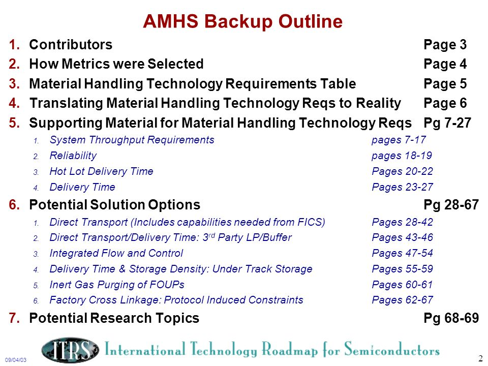 09/04/03 2 AMHS Backup Outline 1.ContributorsPage 3 2.How Metrics were SelectedPage 4 3.Material Handling Technology Requirements TablePage 5 4.Transl