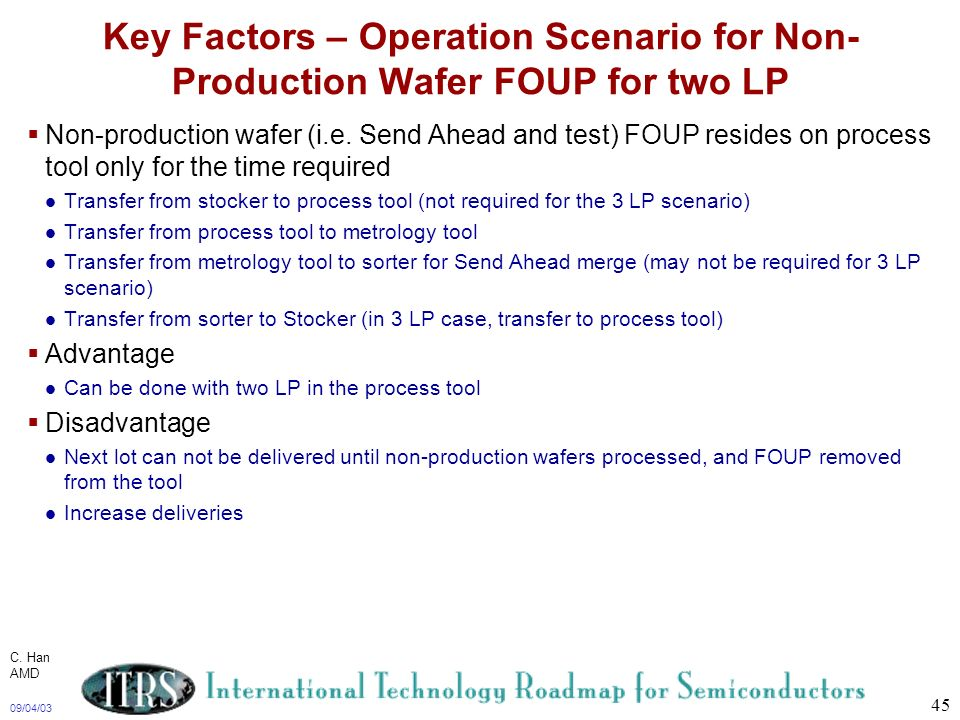 09/04/03 45 Key Factors – Operation Scenario for Non- Production Wafer FOUP for two LP Non-production wafer (i.e. Send Ahead and test) FOUP resides on