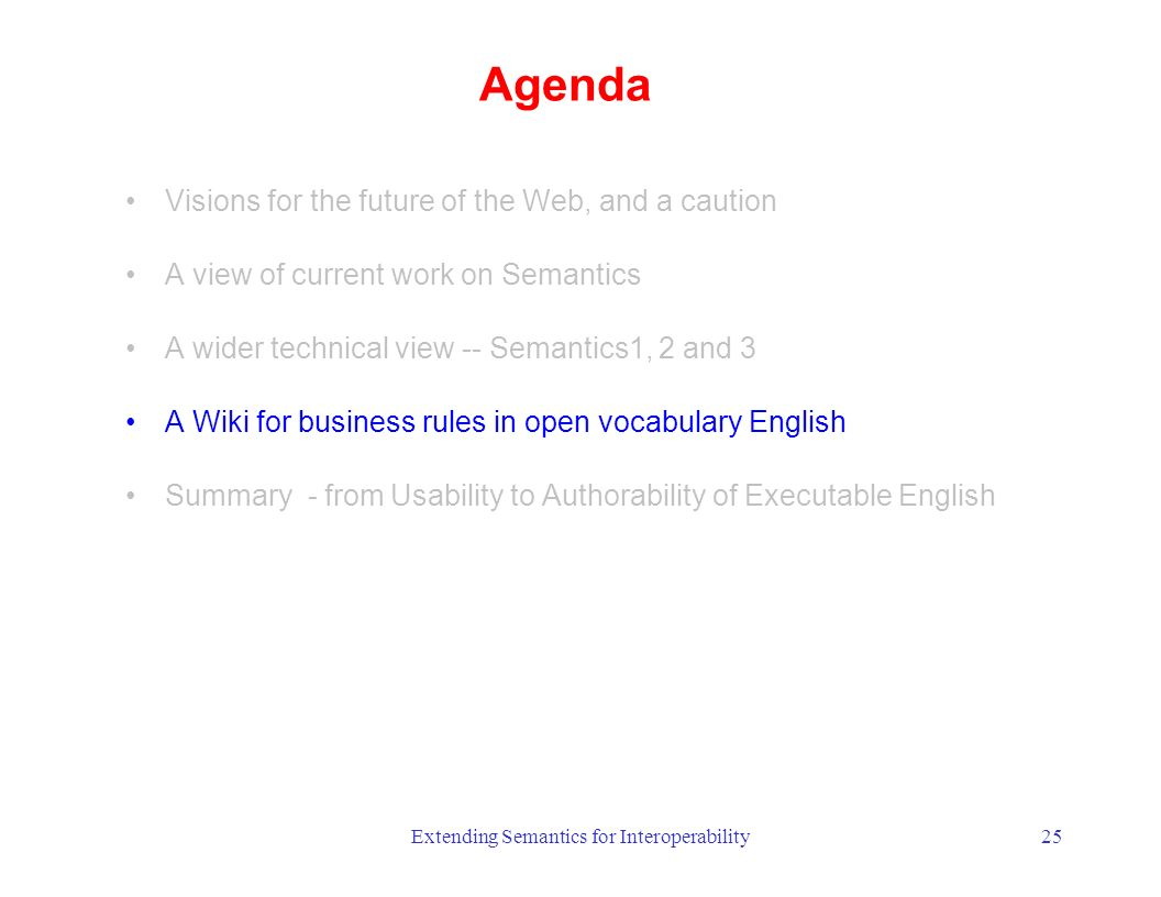 Extending Semantics for Interoperability25 Agenda Visions for the future of the Web, and a caution A view of current work on Semantics A wider technical view -- Semantics1, 2 and 3 A Wiki for business rules in open vocabulary English Summary - from Usability to Authorability of Executable English