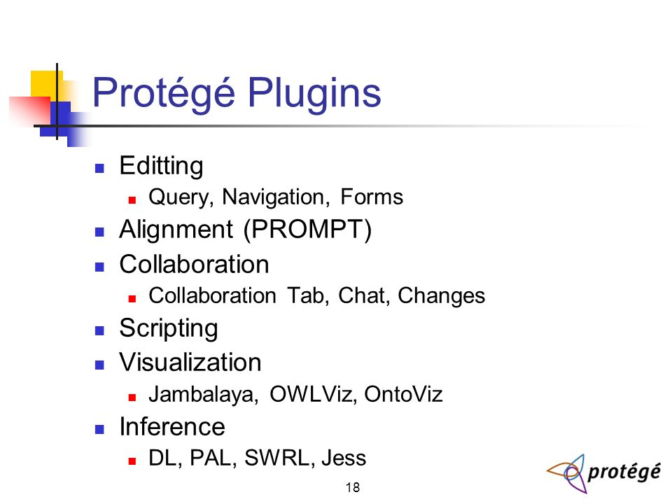18 Protégé Plugins Editting Query, Navigation, Forms Alignment (PROMPT) Collaboration Collaboration Tab, Chat, Changes Scripting Visualization Jambalaya, OWLViz, OntoViz Inference DL, PAL, SWRL, Jess