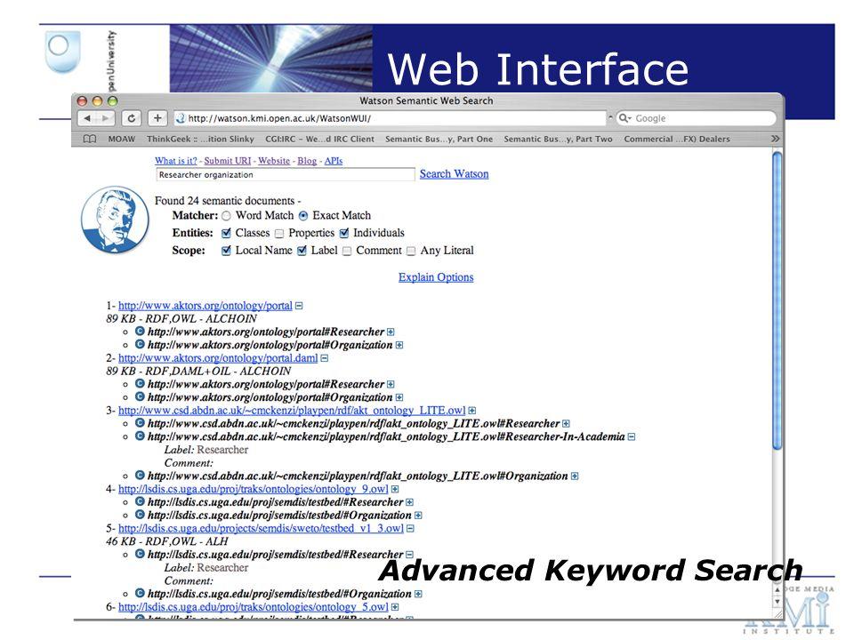 Slide 8 Web Interface Ontology Exploration