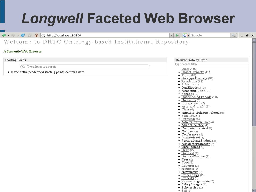 Longwell Faceted Web Browser