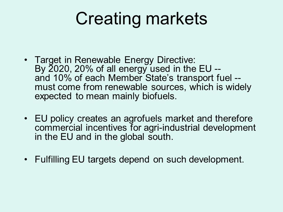 EU policy assumptions Various EC documents express optimistic assumptions about benefits of biofuel expansion from EU targets.