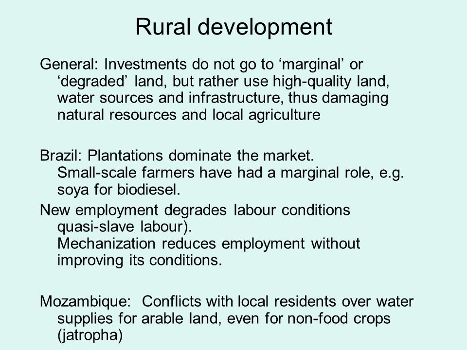 Rural development General: Investments do not go to marginal or degraded land, but rather use high-quality land, water sources and infrastructure, thus damaging natural resources and local agriculture Brazil: Plantations dominate the market.