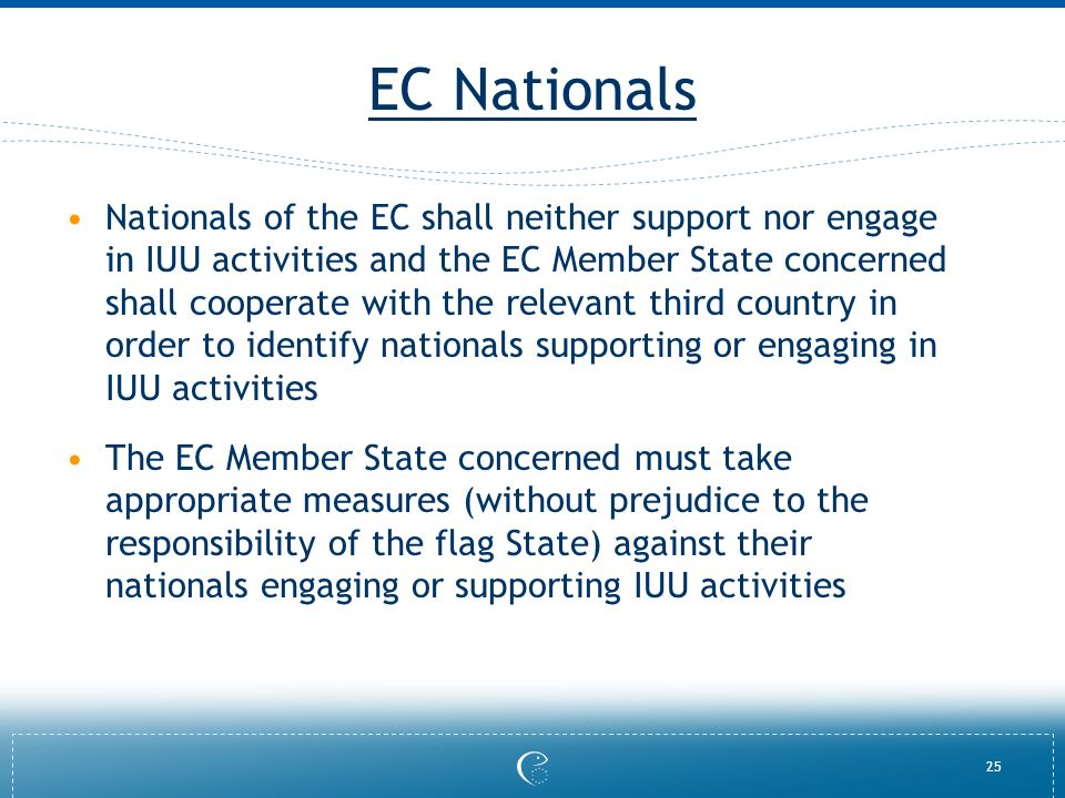 25 EC Nationals Nationals of the EC shall neither support nor engage in IUU activities and the EC Member State concerned shall cooperate with the relevant third country in order to identify nationals supporting or engaging in IUU activities The EC Member State concerned must take appropriate measures (without prejudice to the responsibility of the flag State) against their nationals engaging or supporting IUU activities