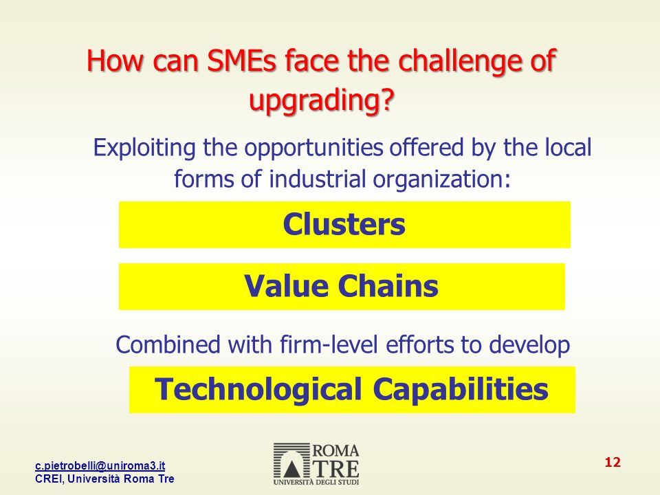 CREI, Università Roma Tre 12 How can SMEs face the challenge of upgrading.