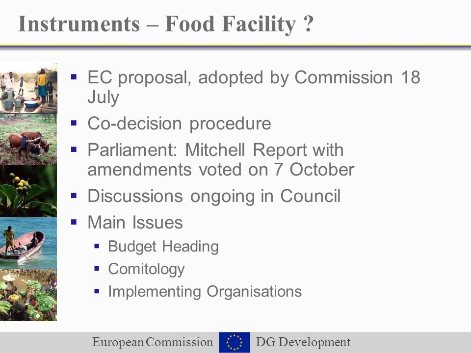 European Commission DG Development Instruments – Food Facility ? EC proposal, adopted by Commission 18 July Co-decision procedure Parliament: Mitchell