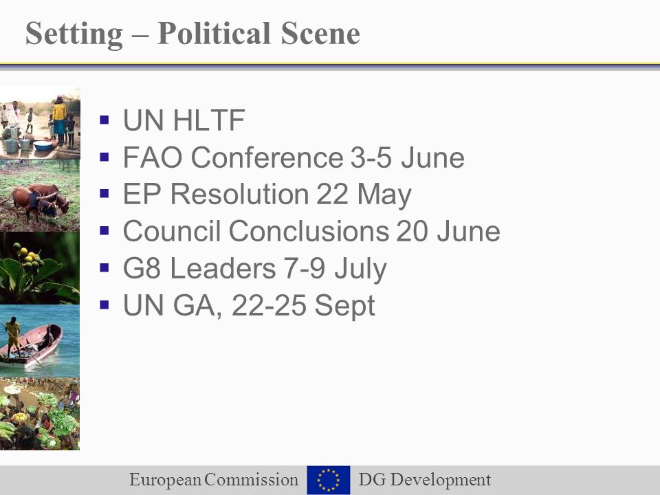 European Commission DG Development Setting – Political Scene UN HLTF FAO Conference 3-5 June EP Resolution 22 May Council Conclusions 20 June G8 Leade