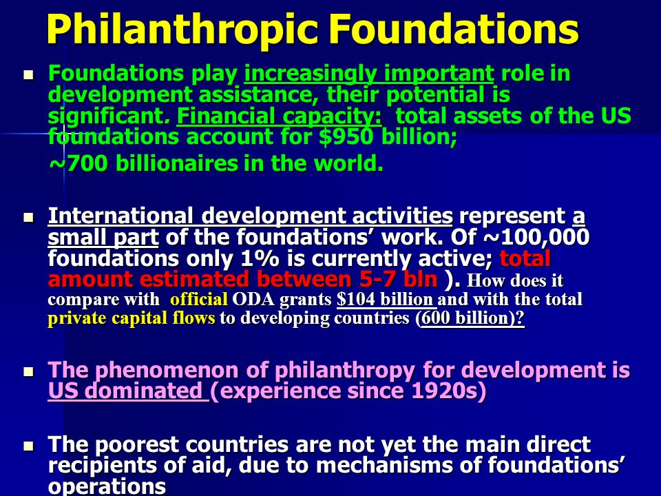 Philanthropic Foundations Foundations play increasingly important role in development assistance, their potential is significant. Financial capacity: