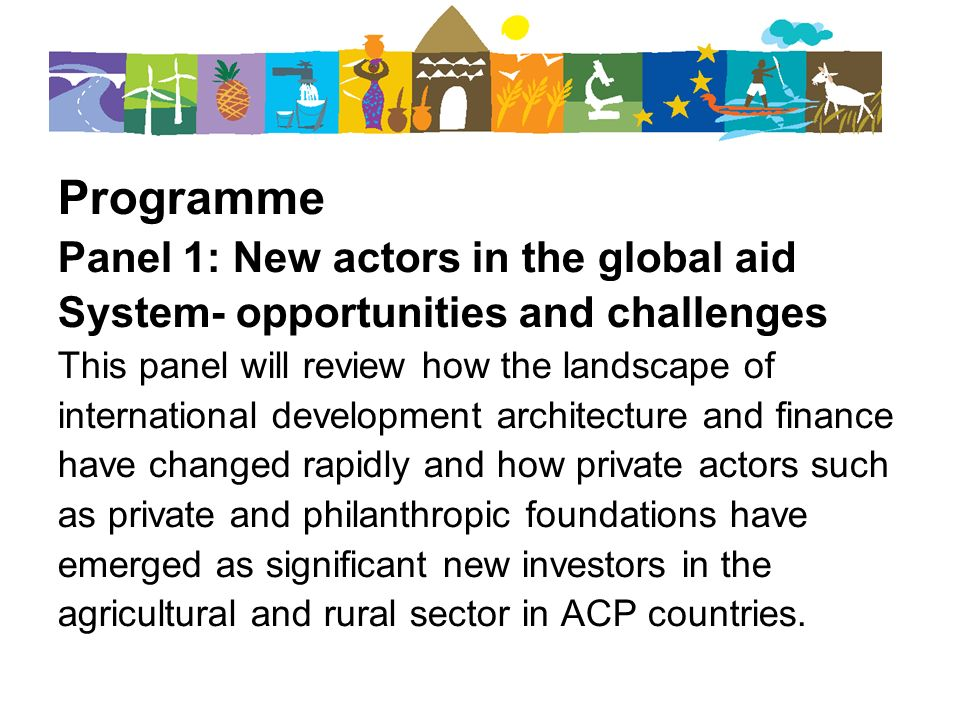 Programme Panel 1: New actors in the global aid System- opportunities and challenges This panel will review how the landscape of international develop