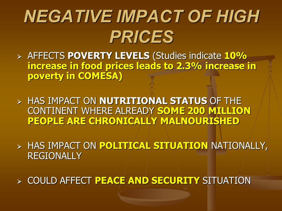 NEGATIVE IMPACT OF HIGH PRICES AFFECTS POVERTY LEVELS (Studies indicate 10% increase in food prices leads to 2.3% increase in poverty in COMESA) AFFEC