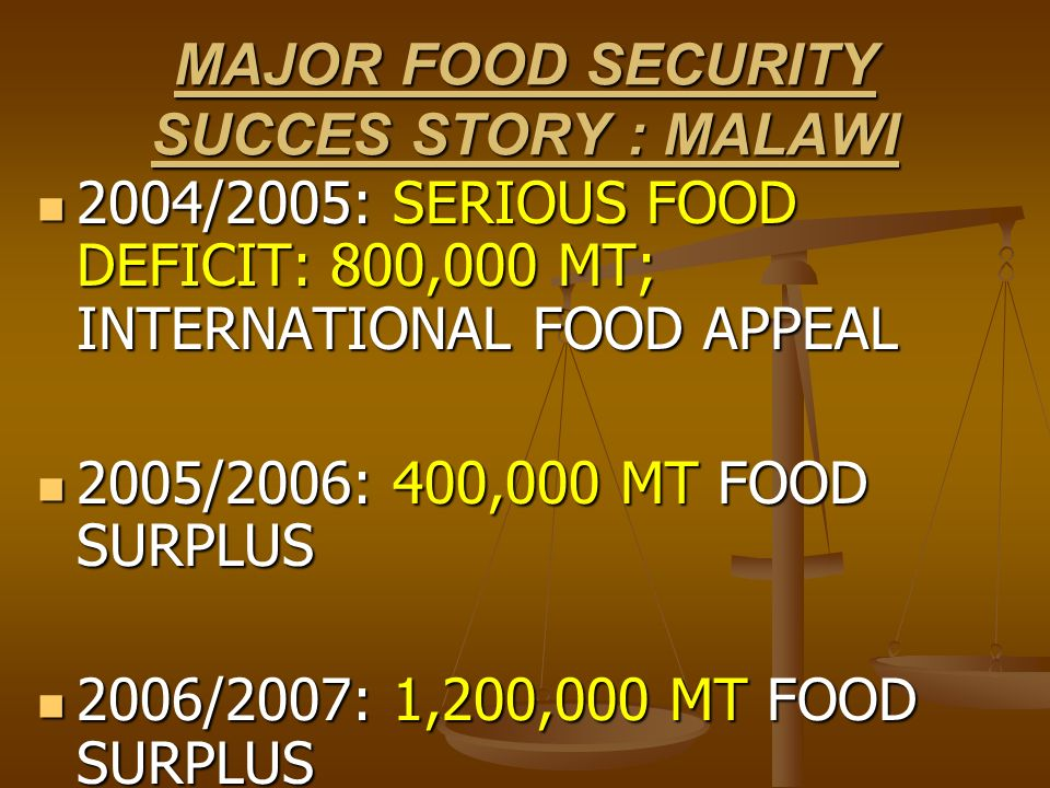 MAJOR FOOD SECURITY SUCCES STORY : MALAWI 2004/2005: SERIOUS FOOD DEFICIT: 800,000 MT; INTERNATIONAL FOOD APPEAL 2004/2005: SERIOUS FOOD DEFICIT: 800,
