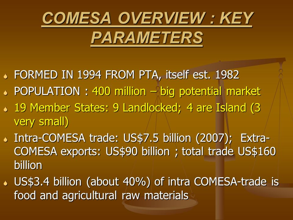 COMESA OVERVIEW : KEY PARAMETERS FORMED IN 1994 FROM PTA, itself est. 1982 FORMED IN 1994 FROM PTA, itself est. 1982 POPULATION : 400 million – big po