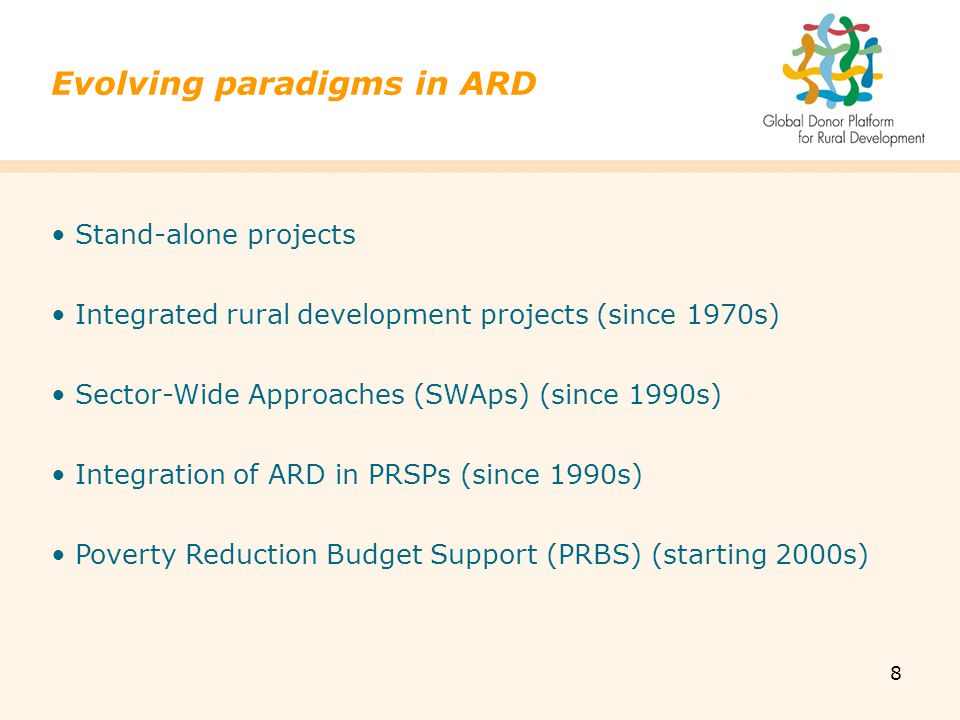 8 Stand-alone projects Integrated rural development projects (since 1970s) Sector-Wide Approaches (SWAps) (since 1990s) Integration of ARD in PRSPs (since 1990s) Poverty Reduction Budget Support (PRBS) (starting 2000s) Evolving paradigms in ARD