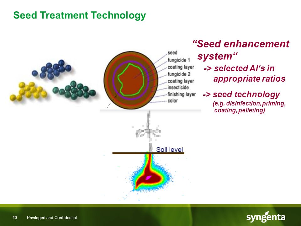 10 Privileged and Confidential Seed enhancement system -> selected AIs in appropriate ratios -> seed technology (e.g.