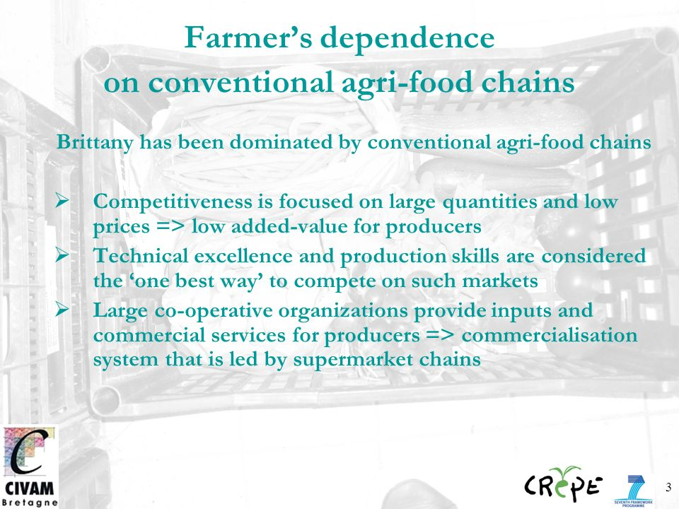 3 Farmers dependence on conventional agri-food chains Brittany has been dominated by conventional agri-food chains Competitiveness is focused on large quantities and low prices => low added-value for producers Technical excellence and production skills are considered the one best way to compete on such markets Large co-operative organizations provide inputs and commercial services for producers => commercialisation system that is led by supermarket chains