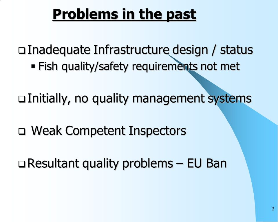 3 Problems in the past Inadequate Infrastructure design / status Inadequate Infrastructure design / status Fish quality/safety requirements not met Fish quality/safety requirements not met Initially, no quality management systems Initially, no quality management systems Weak Competent Inspectors Weak Competent Inspectors Resultant quality problems – EU Ban Resultant quality problems – EU Ban
