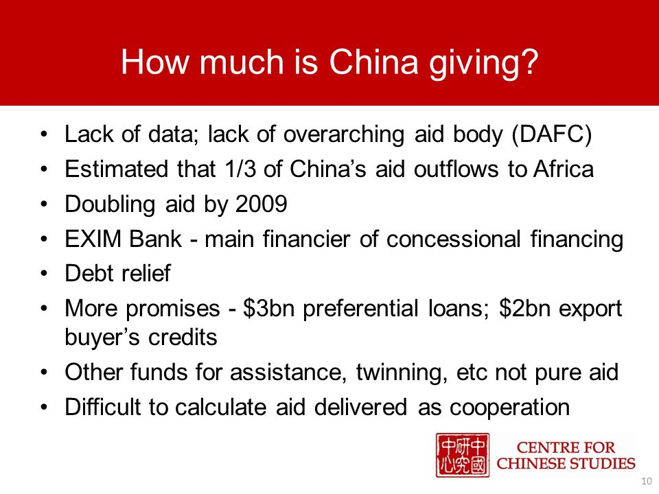 How much is China giving.