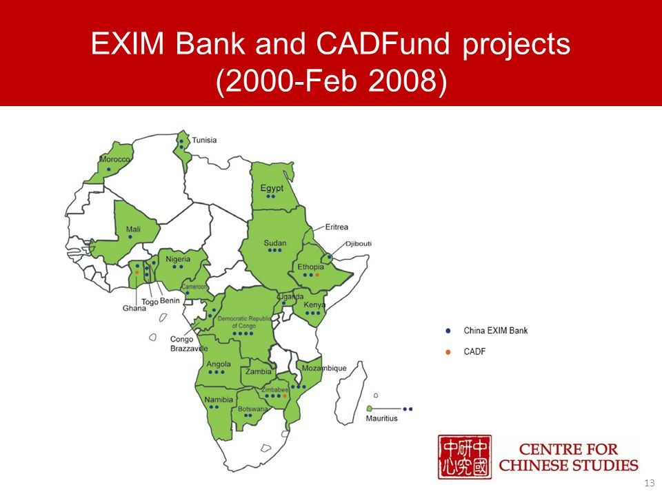 EXIM Bank and CADFund projects (2000-Feb 2008) 13