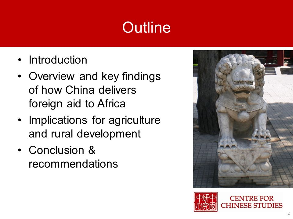 Introduction China as a new player in Africas development – new approach to development Development model of China.