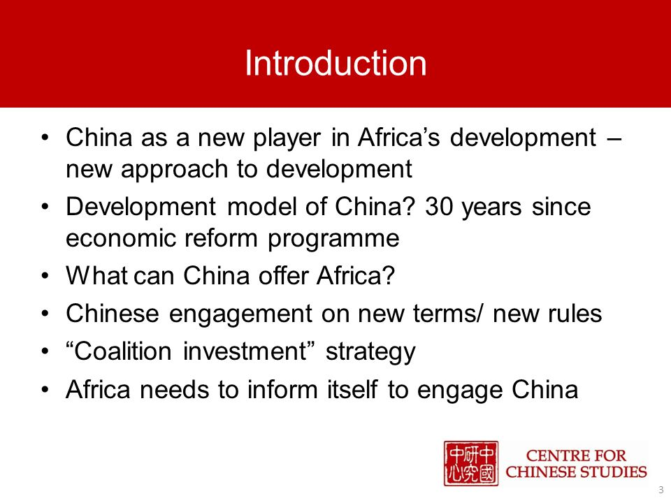 China vs Traditional donors China-Africa relations based on historical assistance China small as donor vs traditional donors China offers alternative to structural adjustment programmes required by Western aid Chinese aid is tied aid and project dependent China as developing country brands itself as understanding Africas developmental needs Main focus on infrastructure Traditional donors signal cooperation with China China changing rules of the game 14