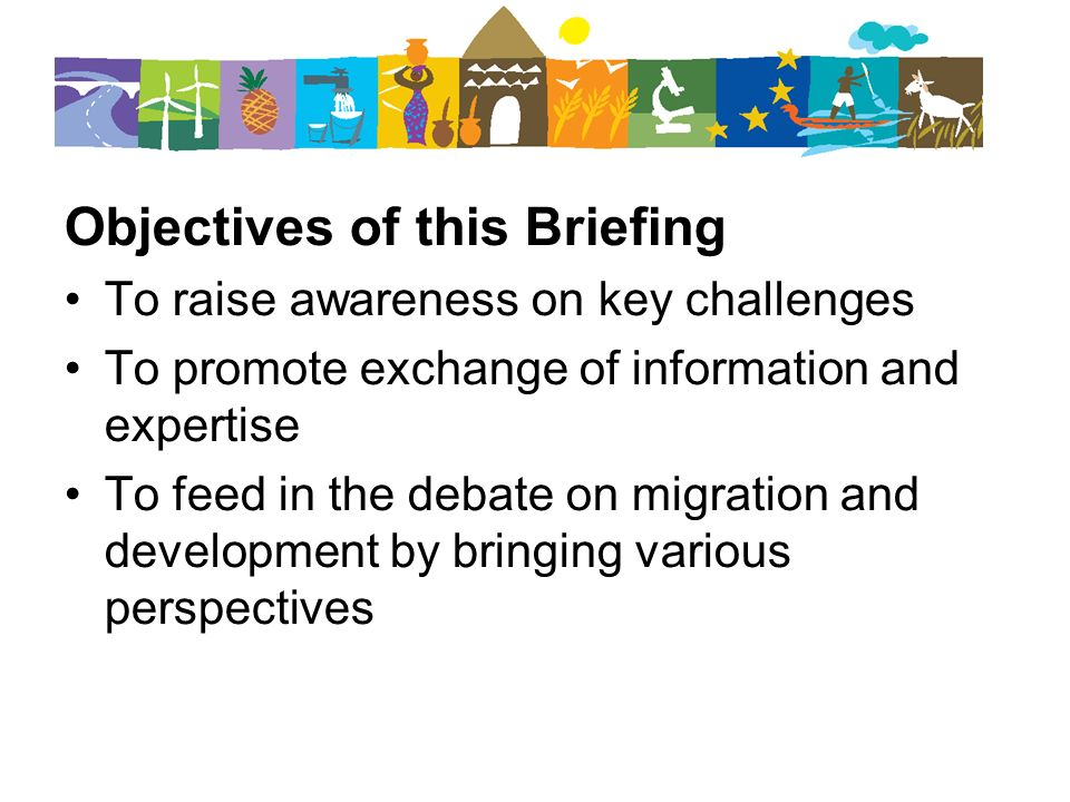 Objectives of this Briefing To raise awareness on key challenges To promote exchange of information and expertise To feed in the debate on migration and development by bringing various perspectives