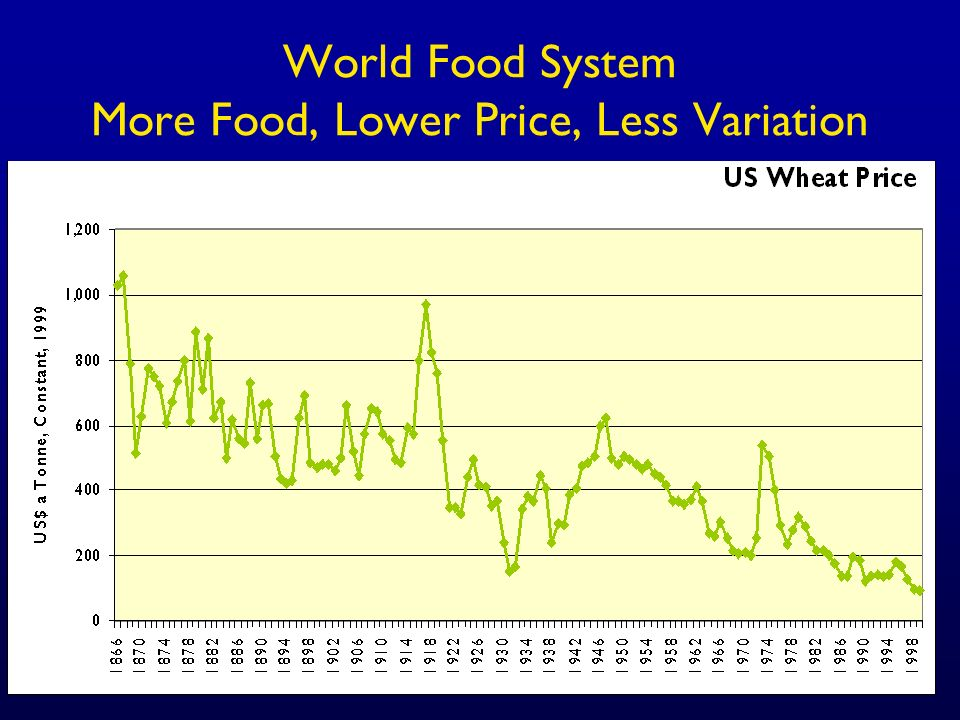 World Food System More Food, Lower Price, Less Variation