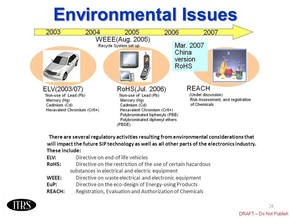 DRAFT – Do Not Publish Environmental Issues 26 There are several regulatory activities resulting from environmental considerations that will impact th